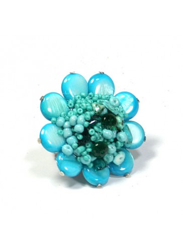 RB1071 Turquoise shell stretch ring
