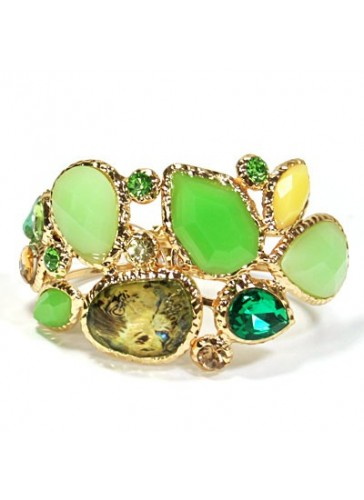 BH1489 Green multi stoned gold plated bracelet