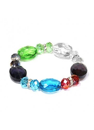 BL710227 Multicolor stone charm stretch bracelet