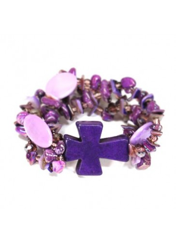 BC0284 Purple Multi-chip shell cross stretch bracelet