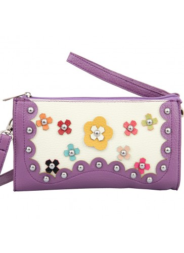 PHB4276 A Flower accent metal stud wristlet clutch combo