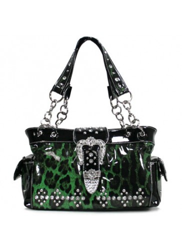 PLS011 Leopard print rhinestoned handbag