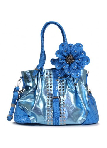 PMS4990 Patent leather fashion shoulder bag with flower tasse
