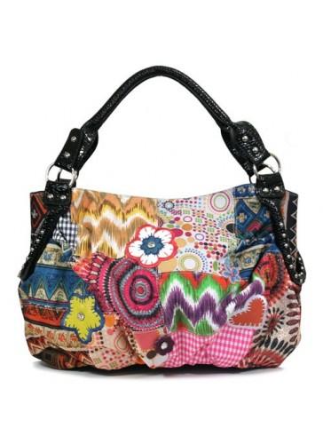 PE4802 Abstract pattern print fashion tote bag