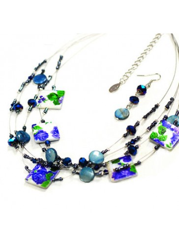 N3174B Multi Wired Charm Beads Necklace