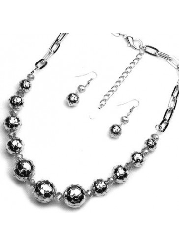 N3211 Rhodium Plating Metal Ball Chain Necklace