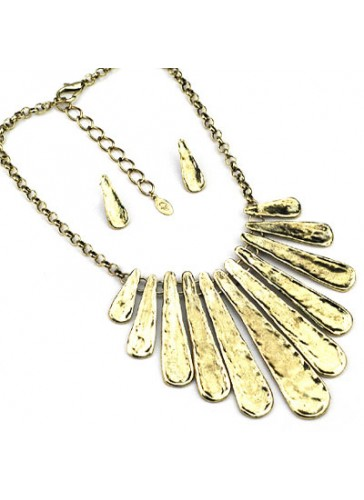 N3471G Tribal Style Gold Tone necklace